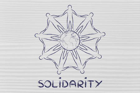 solidarity: solidarity: mankind holding hands around planet earth