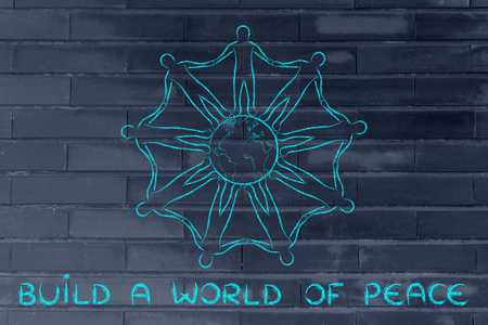 mankind: build a world of peace: mankind holding hands around planet earth Stock Photo