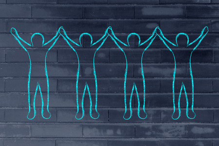 collaborations: group of people holding hands and rejoicing of being a team Stock Photo