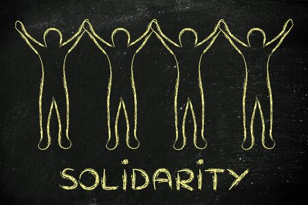 solidarity: solidarity: people holding hands and standing united
