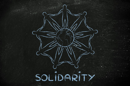 mankind: solidarity: mankind holding hands around planet earth