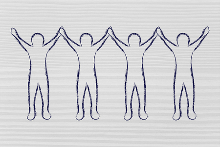 collaborations: collaborations: group of people holding hands and rejoicing of being a team Stock Photo