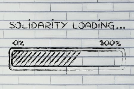solidaridad: barra de progreso metafóricamente cargar más solidaria Foto de archivo