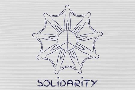 solidaridad: solidaridad: personas de la mano alrededor del símbolo de paz Foto de archivo