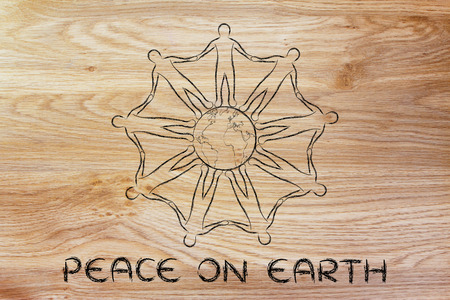 mankind: peace on earth: mankind holding hands around the world