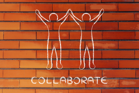collaborations: collaborations and partnerships: people holding hands and rejoicing of being a team