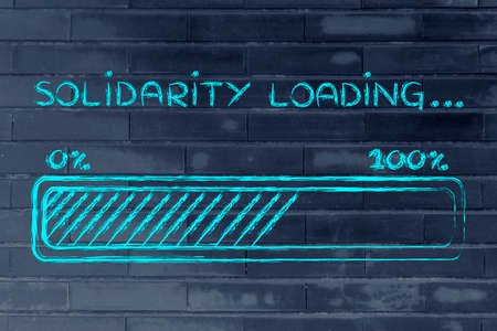 solidaridad: barra de progreso metaf�ricamente cargar m�s solidaria Foto de archivo