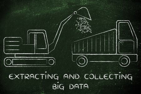 extracting: concept of extracting and collecting big data: digger and truck with load of binary code