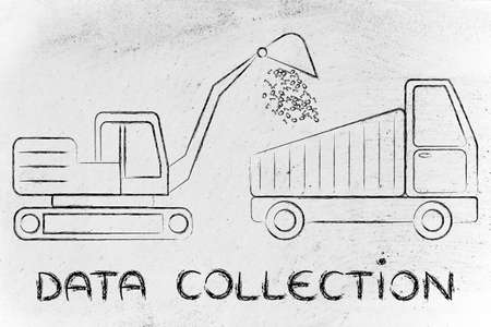 information extraction: concept of data collection: digger and truck with a load of binary code