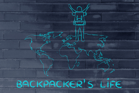 backpackers: backpackers life: person with backback walking on a world map