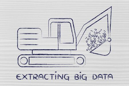 extracting: concept of extracting big data: funny digger collecting data in form of binary code