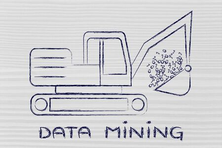 extracting: concept of data mining: funny digger extracting data in form of binary code Stock Photo