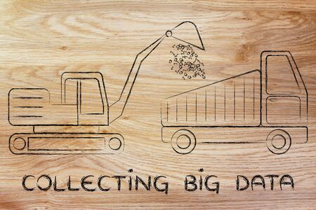 information extraction: concept of collecting big data: digger and truck with a load of binary code Stock Photo