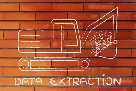 information extraction: concept of data extraction: funny digger colleting data in form of binary code