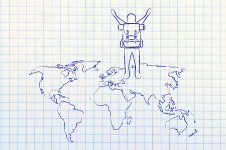 backpacking: travelling and backpacking: person with backback walking on a world map Stock Photo