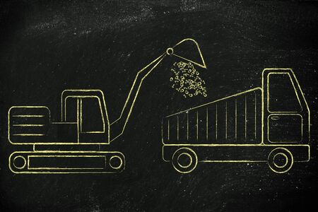 information extraction: concept of mining and collecting big data: digger and truck with a load of binary code