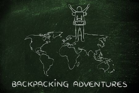 backpacking: backpacking adventures: person with backback walking on a world map