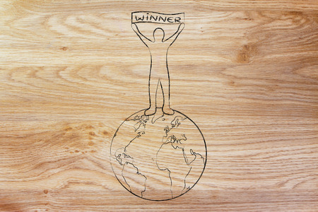 top of the world: person standing on top of the world holding a banner with text Winner