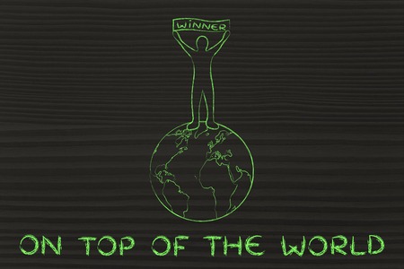 top of the world: reaching success and being on top of the world: man with Winner banner Stock Photo