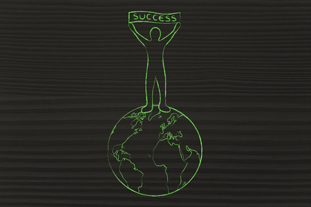 reaching your goals: man on top of the world with Success banner