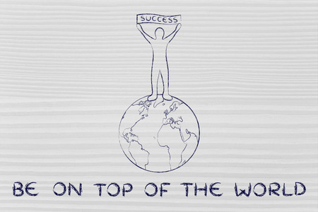 reaching your goals and be on top of the world: man with Success banner Stock Photo