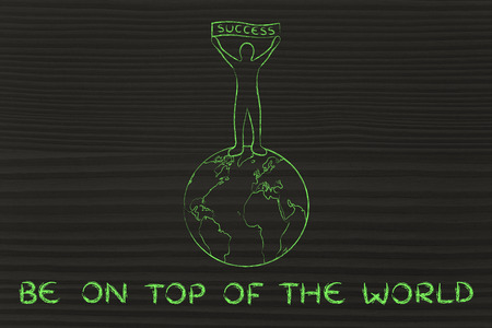 reaching your goals: reaching your goals and be on top of the world: man with Success banner Stock Photo