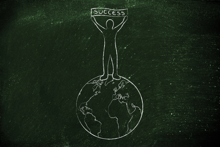 reaching your goals: reaching your goals: man on top of the world with Success banner