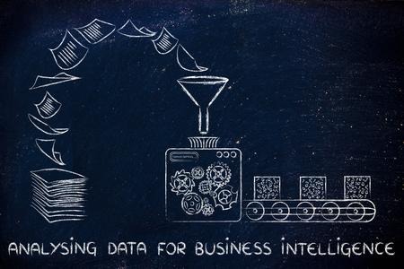 computing machine: analysing data for business intelligence:factory machines turning unorganized paper into processed data