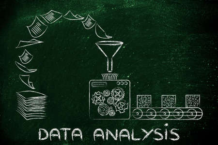 unorganized: business intelligence and data anlysis: factory machines turning unorganized paper into processed data