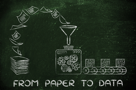 computing machine: from paper to data: factory machines turning unorganized documents into processed information