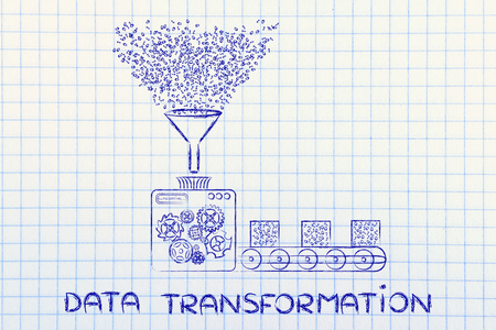computing machine: data transformation: funny illustration with factory machines processing binary code