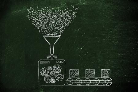 datos personales: la recolecci�n y transformaci�n de los datos: Ilustraci�n divertida con m�quinas de la f�brica de procesamiento de c�digo binario