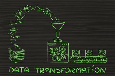 unorganized: data transformation: factory machines turning unorganized paper into processed information Stock Photo