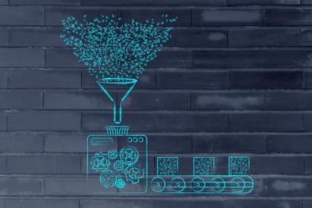 la collecte et la transformation des données: illustration drôle avec des machines d'usine de traitement code binaire