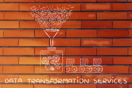 computing machine: data transformation services: funny illustration with factory machines processing binary code