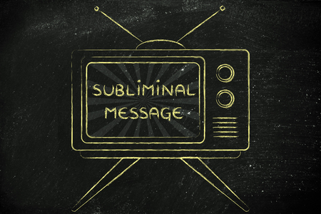 mass media: tv ads and mass media: old style television with text Subliminal Message