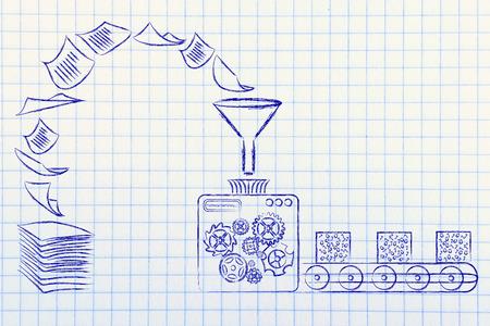 Business Intelligence: illustration avec des machines d'usine conversion de documents papier en données traitées inorganisé Banque d'images