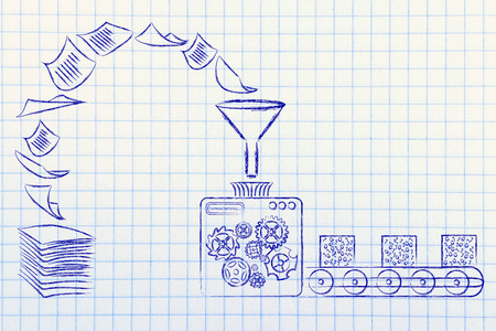 business intelligence: illustration with factory machines turning unorganized paper into processed data