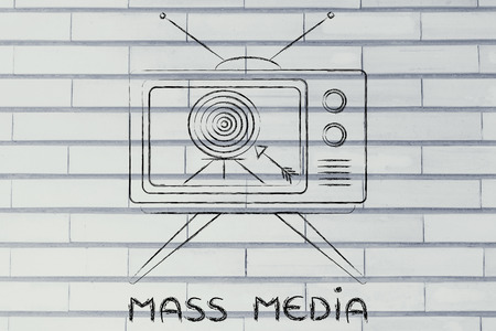 mass media: mass media communication: old style television screen with target and arrow Stock Photo
