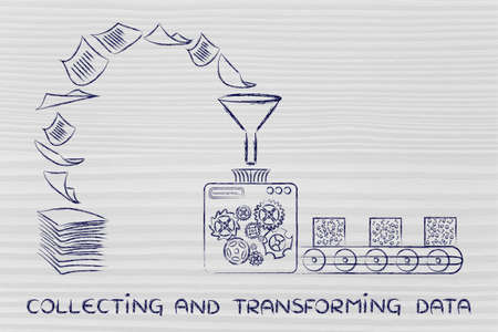 transforming: collecting and transforming data: factory machines turning unorganized paper into processed information Stock Photo