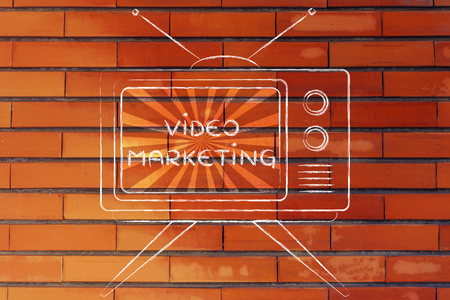 mass media: tv ads and mass media communication: old style television with text Video Marketing Stock Photo