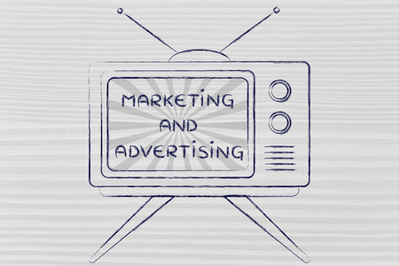 mass media: tv ads and mass media: old style television with text Marketing and advertising Stock Photo