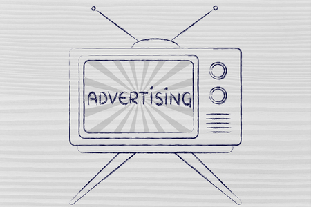 mass media: tv ads and mass media communication: old style television with text Advertising
