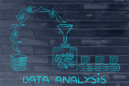 computing machine: business intelligence and data analysis: factory machines turning unorganized paper into processed data