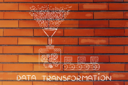 machines: data transformation: funny illustration with factory machines processing binary code