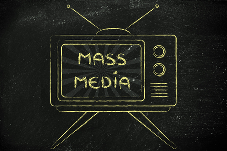 mass media: tv ads and communication: old style television with text about Mass media