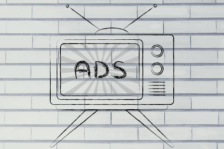 mass media: tv ads and mass media communication: old style television with text Ads