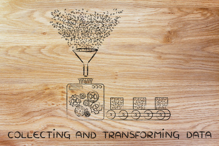 transforming: collecting and transforming data: funny illustration with factory machines processing binary code Stock Photo