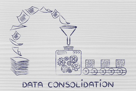 unorganized: data consolidation: factory machines turning unorganized paper into processed information