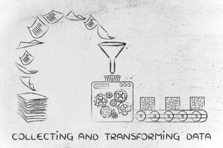 unorganized: collecting and transforming data: factory machines turning unorganized paper into processed information Stock Photo